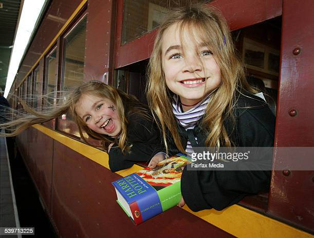Launch of Harry Potter and the Half Blood Prince L to R Zoe Harries 4y/o and Miranda Harries 6y/o on the Gleewarts Express 16 July 2005