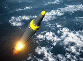 Launch Of North Korean Ballistic Missile. 3D Illustration.
