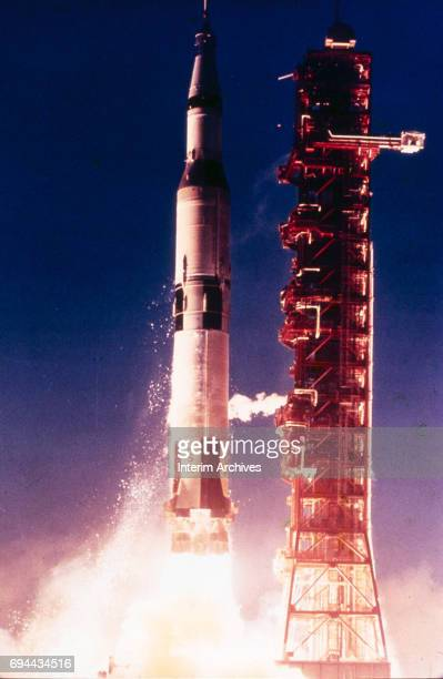 Launch of the Apollo 4 unmanned spacecraft from Pad Launch Complex 39 at the John F Kennedy Space Center on Merritt Island Florida November 9 1967