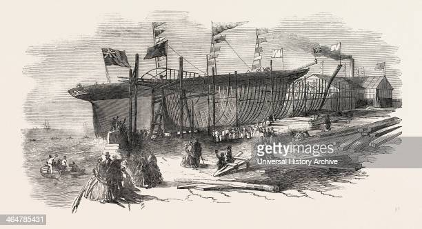 Launch Of The Marion Macintyre And Part Of The Ship Iron Frame At Messrs Jordan And Getley's Building Yard Liverpool UK 1851 Engraving