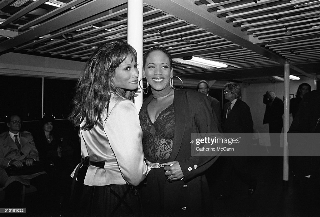 Launch Party for Yves Saint Laurent Fragrance 'Champagne' on September 12, 1994 at Statue of Liberty in New York City, New York, United States. Pictured, L-R: <a gi-track='captionPersonalityLinkClicked' href=/galleries/search?phrase=Beverly+Johnson&family=editorial&specificpeople=206659 ng-click='$event.stopPropagation()'>Beverly Johnson</a> and <a gi-track='captionPersonalityLinkClicked' href=/galleries/search?phrase=Toukie+Smith&family=editorial&specificpeople=1128567 ng-click='$event.stopPropagation()'>Toukie Smith</a> on the boat on the way to the party.