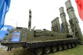 A 9A84ME launcher unit of the S300VM 'Antey2500' Russianmade antiballistic missile system is displayed during the MAKS2013 the International Aviation...