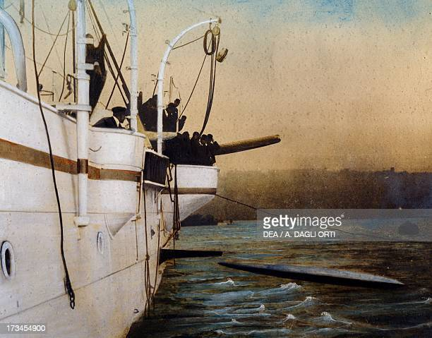 Launching a torpedo from the side of a ship watercolour drawing Italy 20th century Milan Civico Museo Navale Didattico