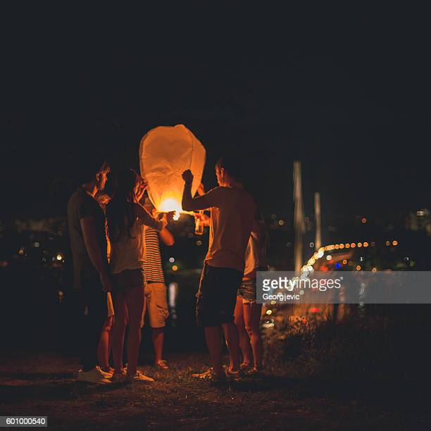 Launching lanterns into the air
