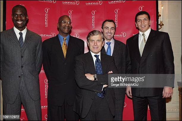 Launching Of The Cartier Sale For Laureus Foundation On January 30 2004 In Paris France Pascal Gentil Edwin Moses Giacomo Agostini Jean Christophe...