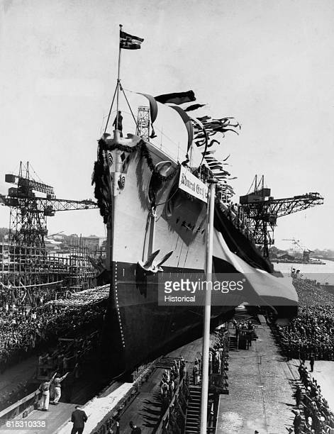 Launching of the new German armored ship Admiral Graf Spee It was used to attack merchant shipping and was sunk on December 17 1939 Wilhelmshaven...