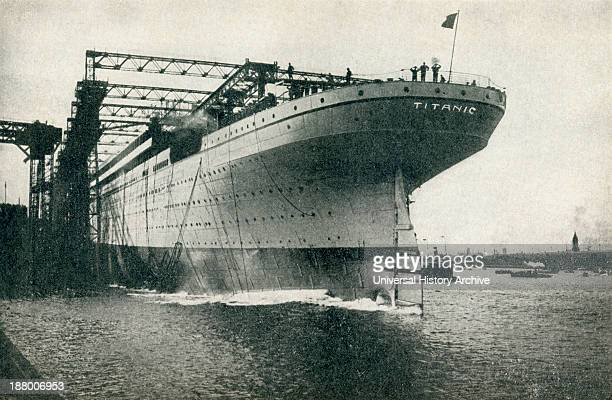 Launching Of The RMS Olympic Of The White Star Line At The Harland And Wolff Shipyards Belfast on 20th October 1910 The image has been doctored with...