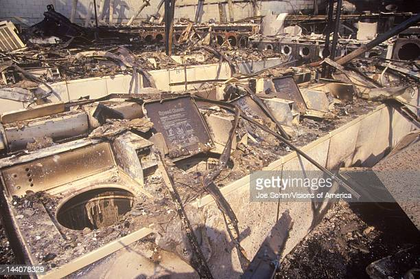 Laundromat burned out during 1992 riots South Central Los Angeles California