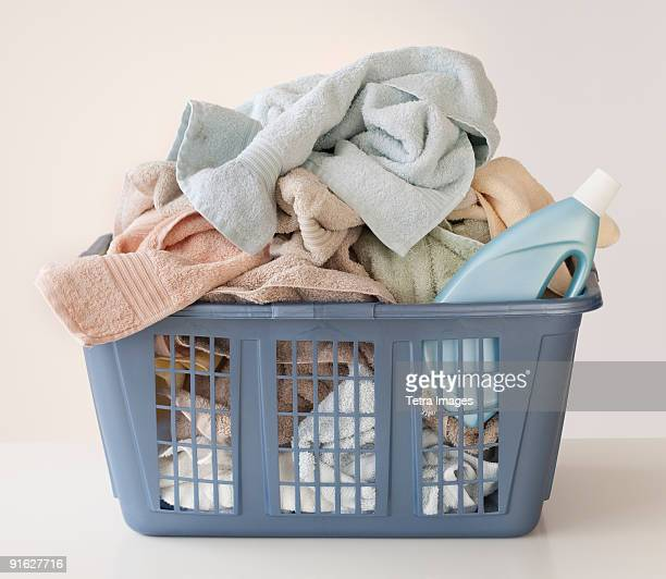 A laundry basket full of towels
