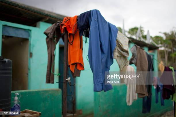 Laundry dries in a rehabilitation center for former fighters of the AlShabaab militia on May 01 2017 in Baidoa Somalia
