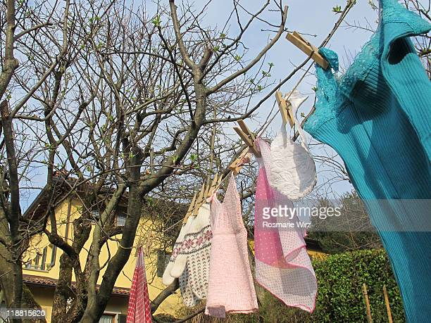 Laundry drying in garden