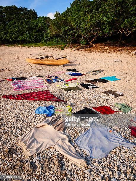 Laundry drying on a beach on Tanna, Vanuatu