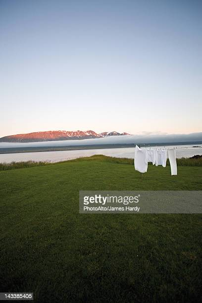 Laundry drying on clothes-line in remote landscape, Vopnafjordur, Iceland