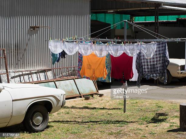 Laundry drying on clotheslines outdoors
