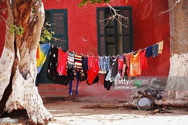 Laundry hangs at a beach on the Ile De Gore island on December 27 2007 near Dakar Republic of Senegal The Ile De Gore island is situated off the main...