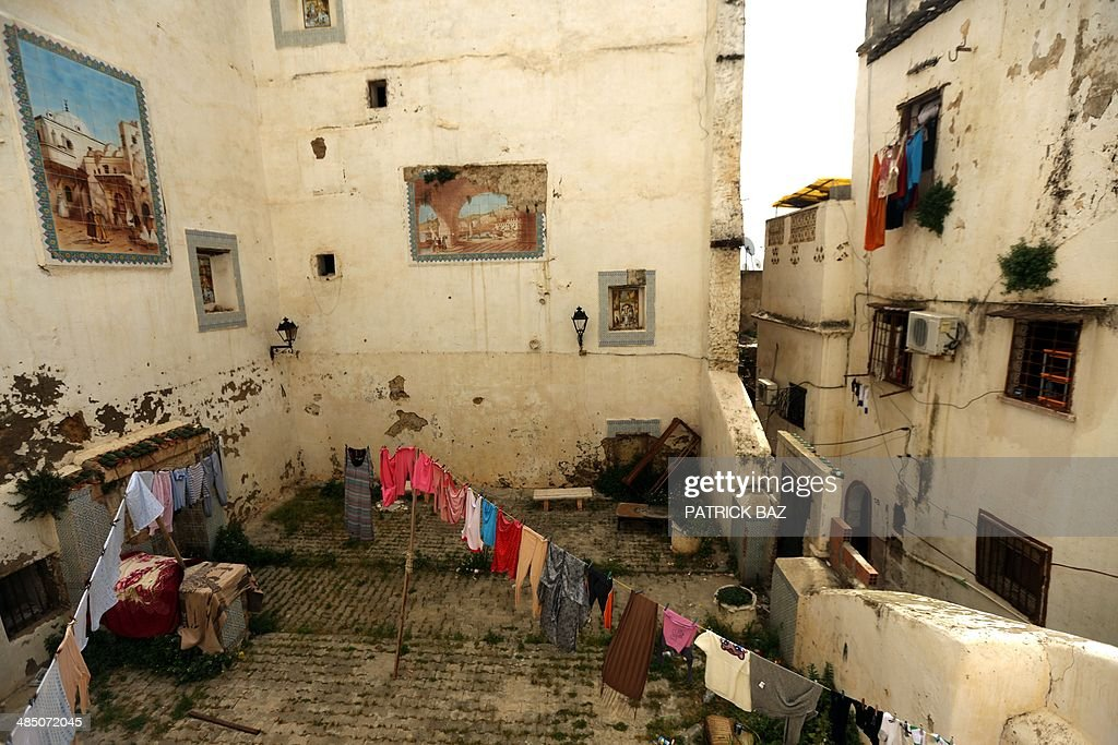Laundry hangs in a house in the old town of Algiers, known as the 'Kasbah', on April 16, 2014.