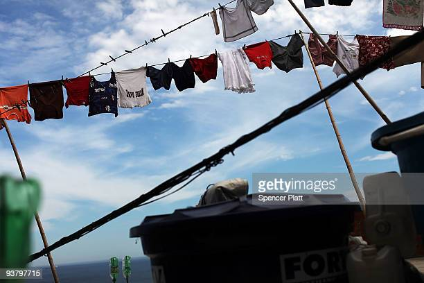 Laundry hangs on a line in the recently 'pacified' Babilônia slum or favela on December 3 2009 in Rio de Janeiro Brazil Babilônia is one of a number...