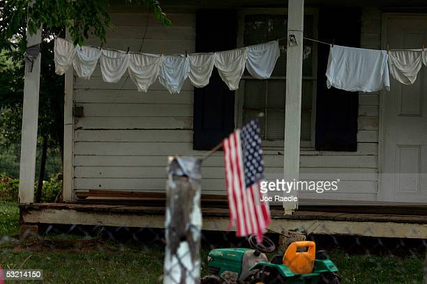 Laundry hangs on the porch of a house near the Gettysburg battle field July 3 2005 in Gettysburg Pennsylvania The battle fields are the site of the...