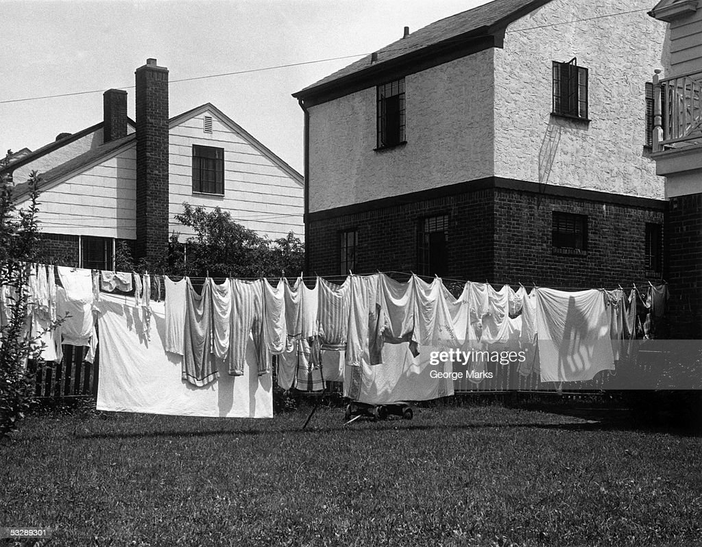 Laundry hung out to dry : Stock Photo