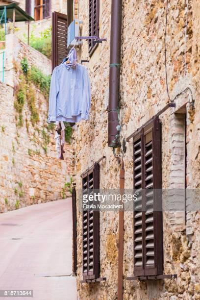 Laundry in San Gimignano's street, Tuscany