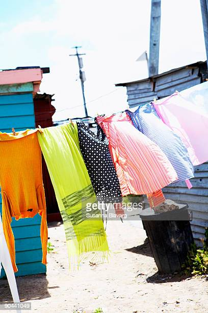 Laundry on clothes line Cape Town South Africa.