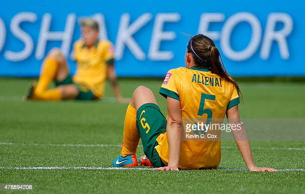 Laura Alleway of Australia reacts after their 10 loss to Japan in the FIFA Women's World Cup Canada 2015 Quarter Final match between Australia and...