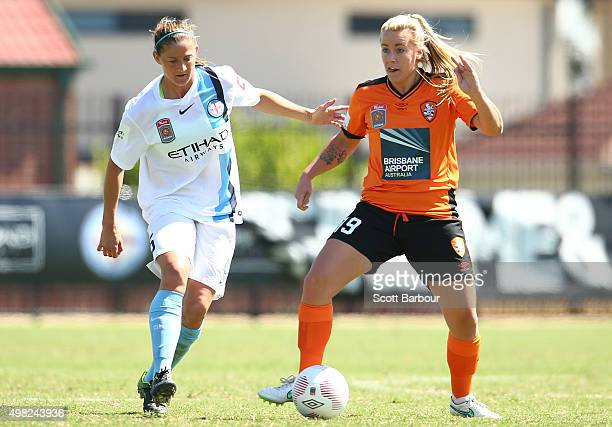 Laura Alleway of City and Sofie Persson of the Roar compete for the ball during the round six WLeague match between Melbourne City and the Brisbane...