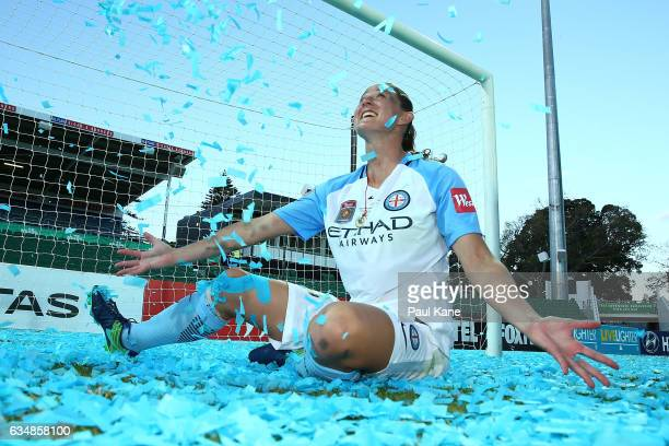 Laura Alleway of Melbourne City plays with confetti after winning the 2017 WLeague Grand Final match between the Perth Glory and Melbourne City FC at...