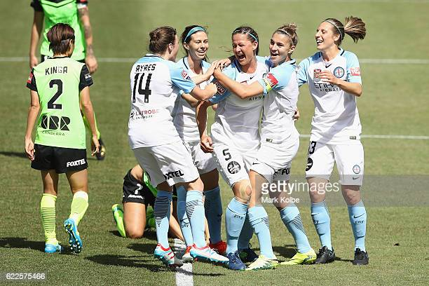 Laura Alleway of Melbourne United celebrates with her team after scoring a goal during the round two WLeague match between Canberra United and...