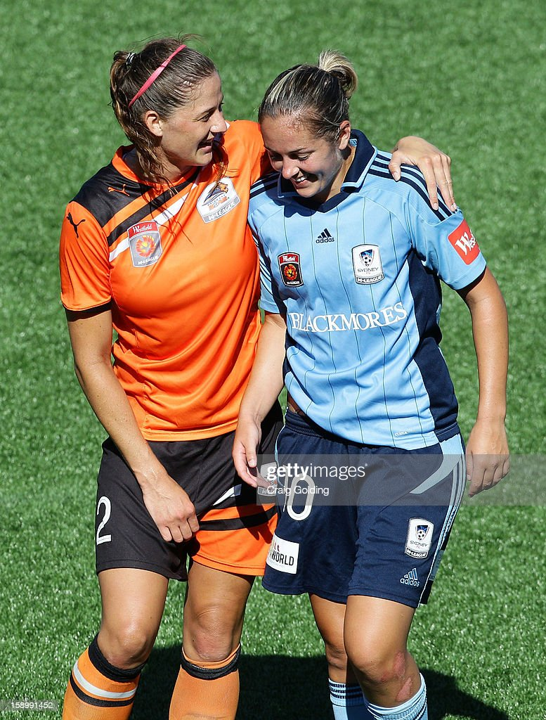 Laura Alleway of the Roar and Renee Rollason of Sydney at full time of the round 11 W-League match between Sydney FC and the Brisbane Roar on January 5, 2013 in Sydney, Australia.