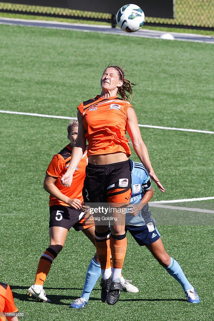 Laura Alleway of the Roar heads the ball during the round 11 W-League match between Sydney FC and the Brisbane Roar on January 5, 2013 in Sydney, Australia.