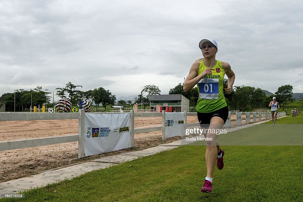 Laura Asadauskaite of Lithuania runs in the Women's Pentathlon during the Modern Pentathlon World Cup Series 2013 at Complexo Deodoro on March 20, 2013 in Rio de Janeiro, Brazil.