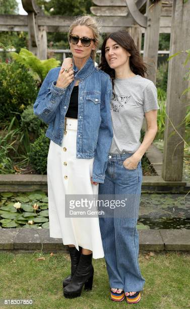 Laura Bailey and Bella Freud attend the J Brand x Bella Freud garden tea party on July 18 2017 in London England