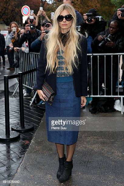 Laura Bailey arrives at the Chanel show as part of the Paris Fashion Week Womenswear Spring/Summer 2016 on October 6 2015 in Paris France