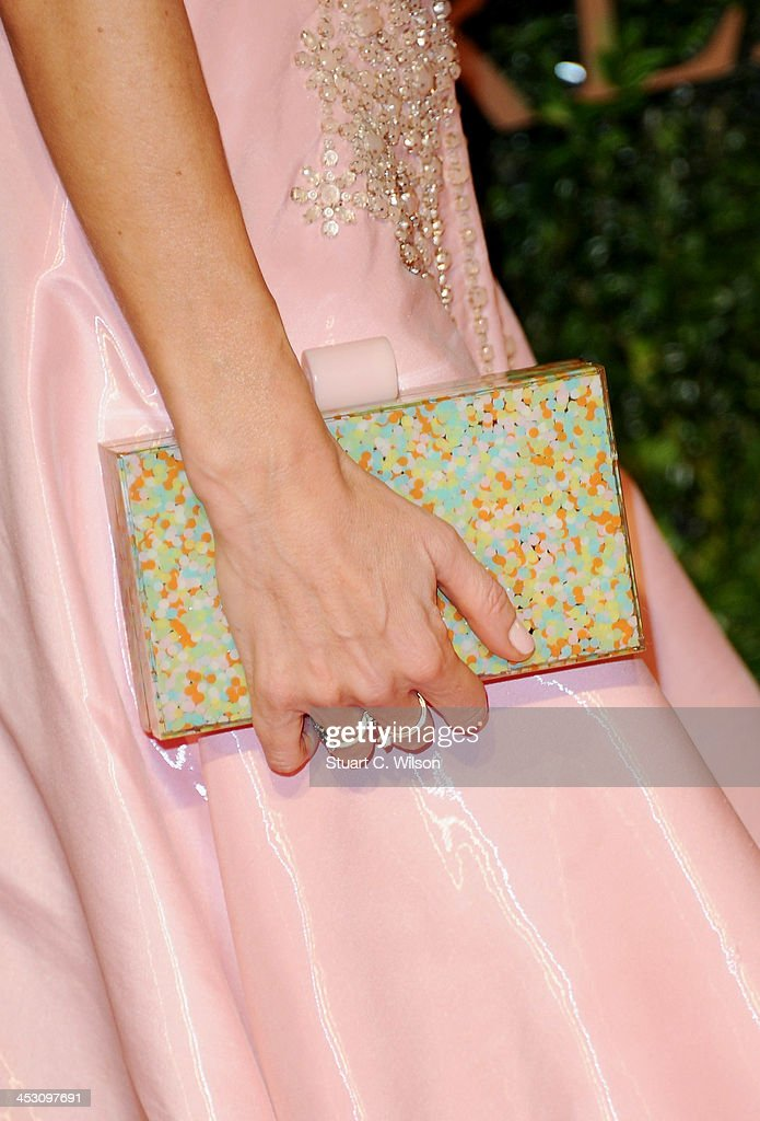 Laura Bailey (bag detail) attends the British Fashion Awards 2013 at London Coliseum on December 2, 2013 in London, England.