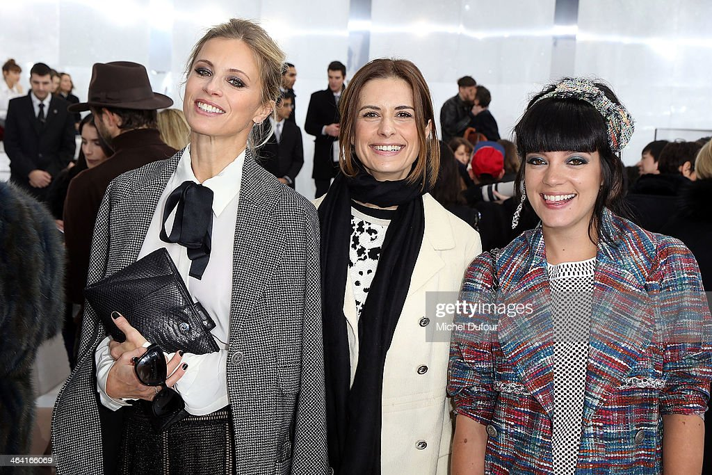 <a gi-track='captionPersonalityLinkClicked' href=/galleries/search?phrase=Laura+Bailey+-+Model&family=editorial&specificpeople=202040 ng-click='$event.stopPropagation()'>Laura Bailey</a>, Livia Firth and Lilly Allen attend the Chanel show as part of Paris Fashion Week Haute Couture Spring/Summer 2014> on January 21, 2014 in Paris, France.
