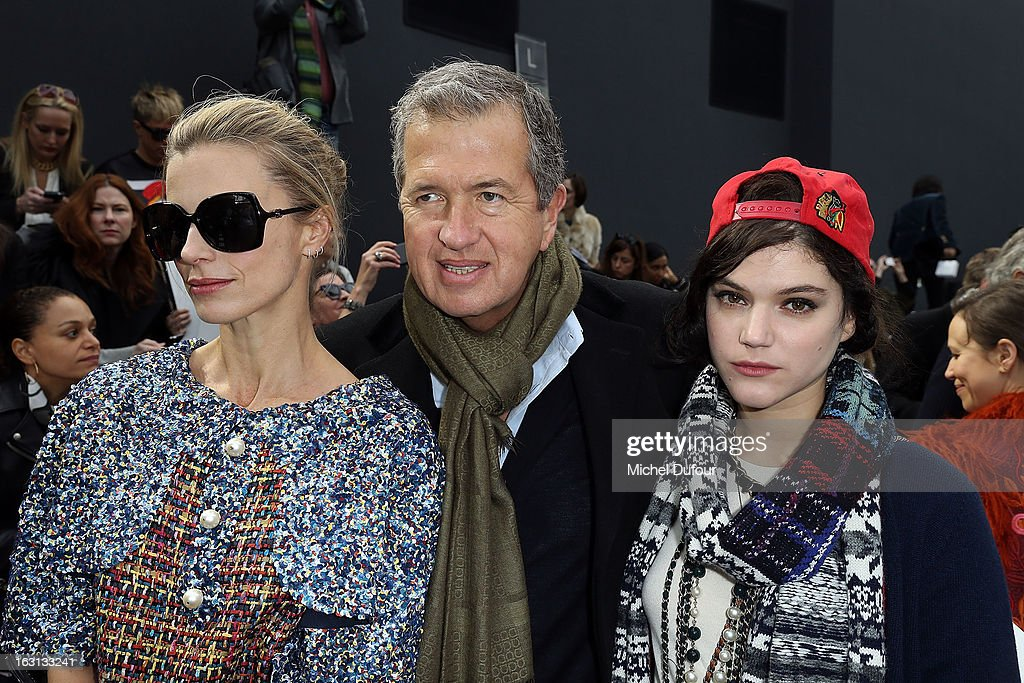 Laura Bailey, Mario Testino and Soko attend the Chanel Fall/Winter 2013 Ready-to-Wear show as part of Paris Fashion Week at Grand Palais on March 5, 2013 in Paris, France.