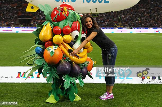 Laura Barriales and EXPO 2015 mascotte before the Zanetti and friends Match for Expo 2015 at Stadio Giuseppe Meazza on May 4 2015 in Milan Italy