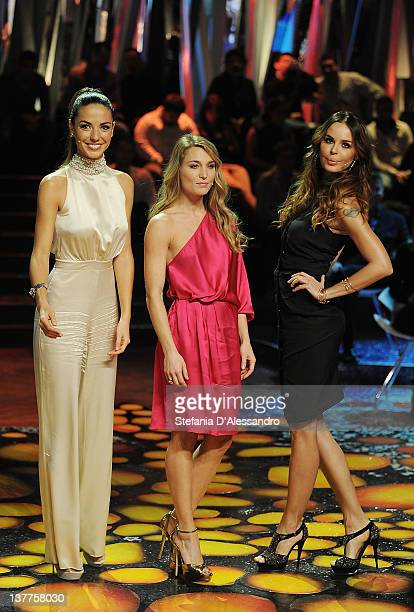 Laura Barriales Lucilla Agosti and Nina Moric attend 'L'Isola Dei Famosi' Italian Tv Show on January 25 2012 in Milan Italy