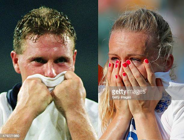 FILE PHOTO Image Numbers 1051094 and 479168002 In this composite image a comparison has been made between Paul Gascoigne of England a member of the...