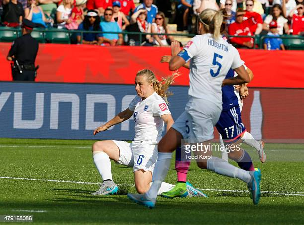 Laura Bassett of England passes the ball to her goalkeeper resulting in a goal and a Japan win during the FIFA Women's World Cup Canada Semi Final...