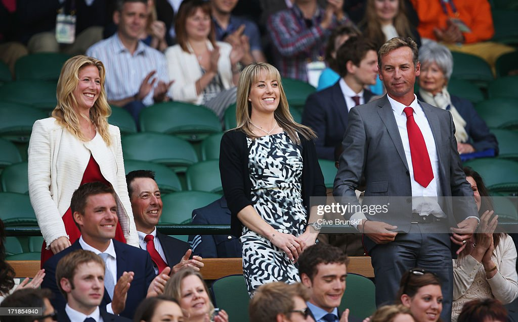Laura Bechtolsheimer Charlotte Dujardin and Carl Hester attend the Gentlemen's Singles third round match between Richard Gasquet of France and...