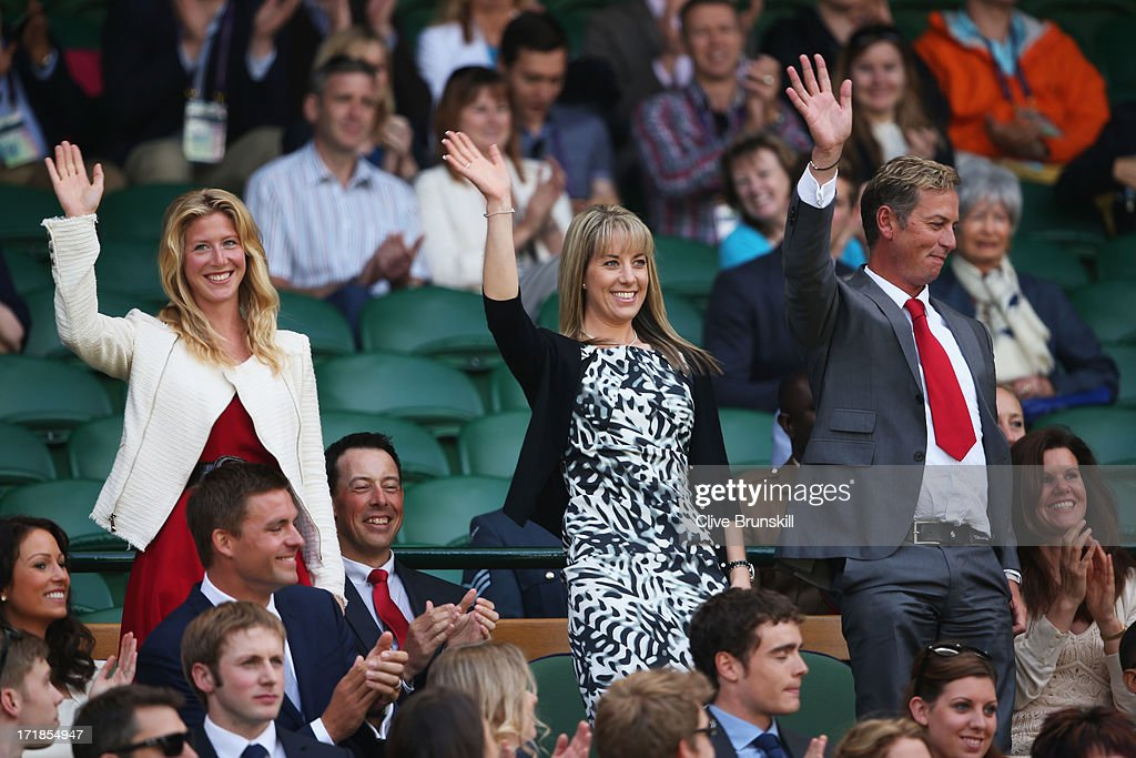 Laura Bechtolsheimer Charlotte Dujardin and Carl Hester wave to the crowd before the Gentlemen's Singles third round match between Richard Gasquet of...