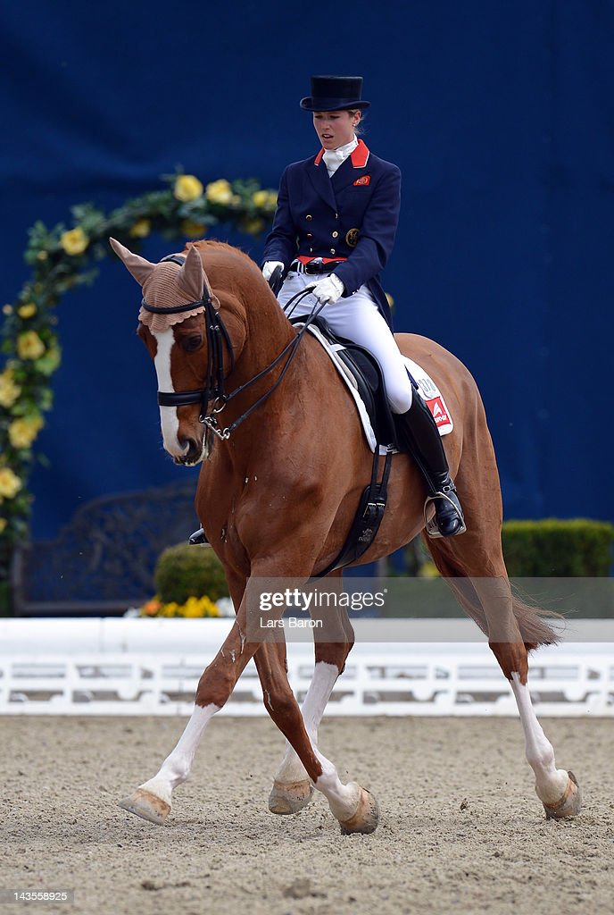 Laura Bechtolsheimer of Great Britain and Mistral Hojris complete their Dressage Test at Horses Dreams on April 29 2012 in Hagen Germany
