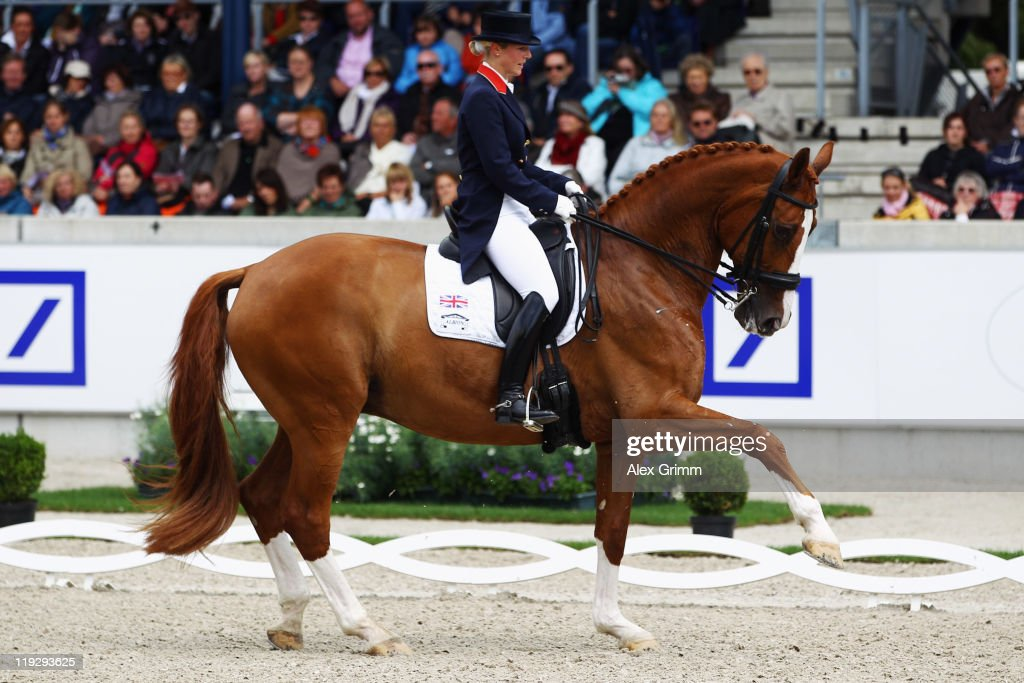 Laura Bechtolsheimer of Great Britain competes on her horse Mistral Hojris during the 'Deutsche Bank Preis' dressage competition at the CHIO on July...