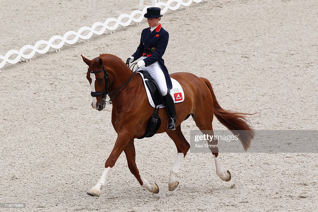 Laura Bechtolsheimer of Great Britain on her horse Mistral Hojris competes during the 'Meggle Preis' Grand Prix Special CDIO dressage competition at...