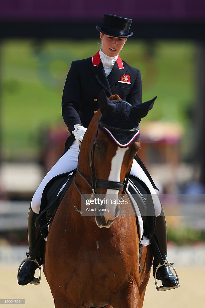 Laura Bechtolsheimer of Great Britain riding Mistral Hojris competes in the Individual Dressage on Day 13 of the London 2012 Olympic Games at...