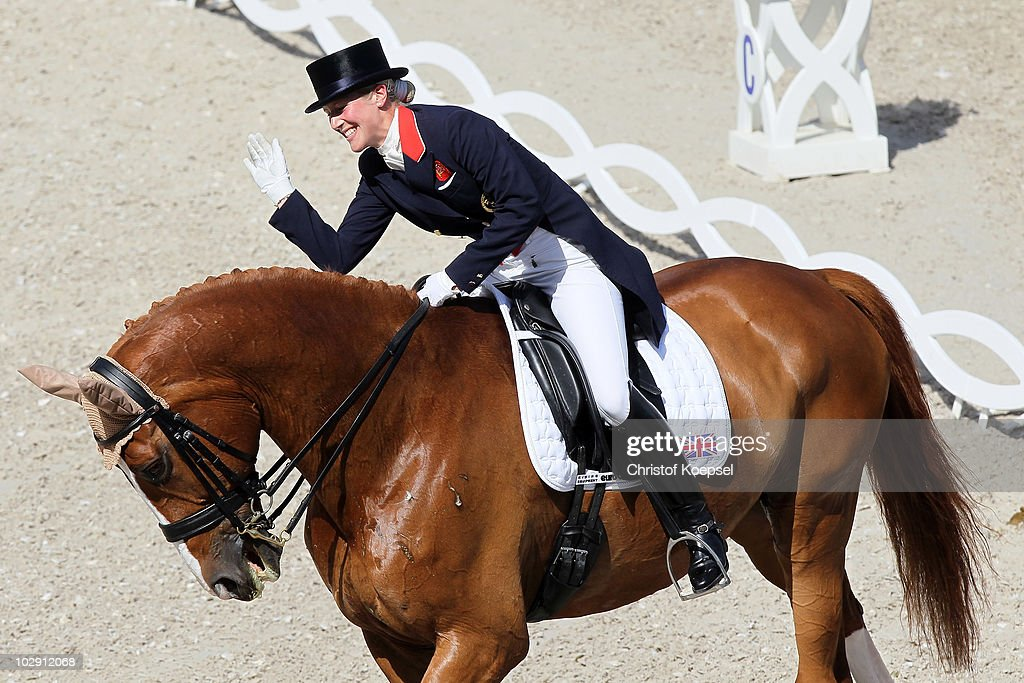 Laura Bechtolsheimer of GreatBritain celebrates her third place during the Teschinkasso prize as part of the Grand Prix CDIO dressage of the CHIO on...