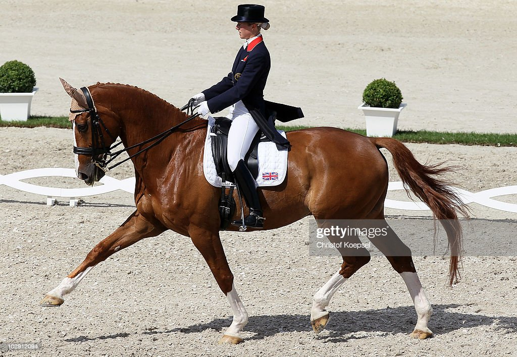 Laura Bechtolsheimer of GreatBritain rides on Mistral Hojris during the Teschinkasso prize as part of the Grand Prix CDIO dressage of the CHIO on...