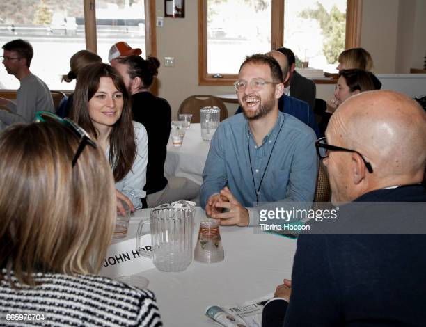 Laura Beckner and Joey Izzo attend the 2017 Aspen Shortsfest filmmakers breakout sessions on April 7 2017 at Mountain Chalet in Aspen Colorado